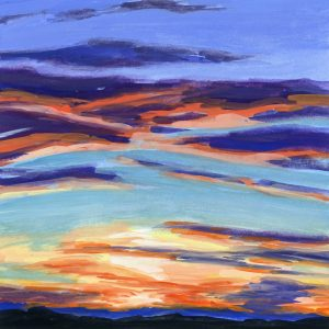 Painting of a colorful sunset over Taos, New Mexico