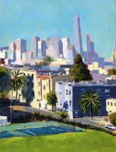 an oil painting of Mission Dolores Park with the San Francisco skyline in the background