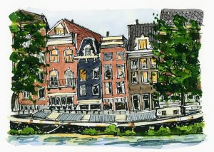 ink and watercolor sketch of canal houses in Amsterdam with a canal boat in front.