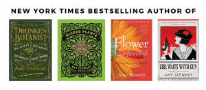 """Text says """"New York Times Bestselling Author of"""" followed by book cover images of The Drunken Botanist, Wicked Plants, Flower Confidential, Girl Waits with Gun"""